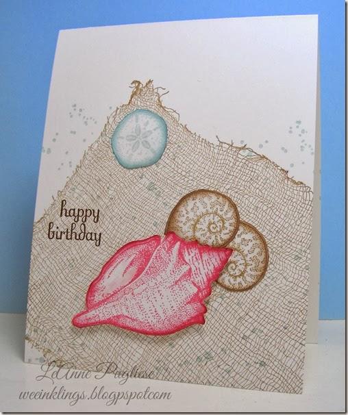 LeAnne Pugliese WeeInklings Stamping Up Stipple Shells Birthday Card