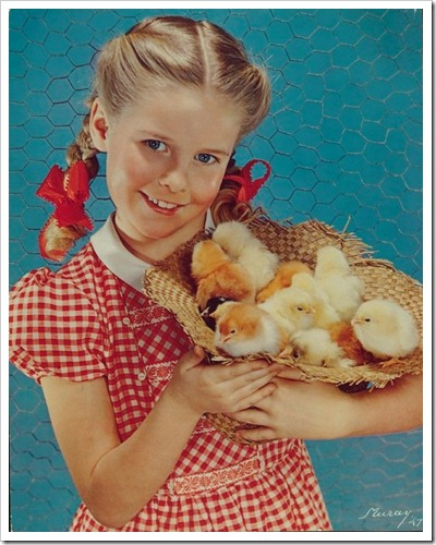 AMERICAN CYANAMID, GIRL WITH STRAW HAT FULL OF CHICKS