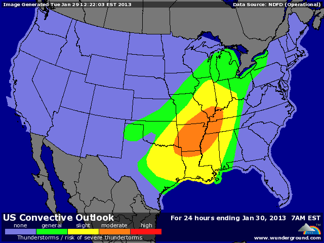 NOAA's Storm Prediction Center has placed portions of Arkansas, Louisiana, Texas, Tennessee, Missouri, Alabama, Oklahoma, Illinois, Indiana, and Mississippi in their 'Moderate Risk' region for severe weather on Tuesday, 29 January 2013. This is the first 'Moderate Risk' forecast issued during 2013. Graphic: Weather Underground