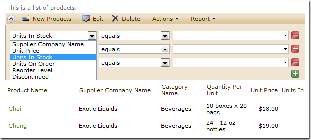 Product Name not available for filtering in the advanced search bar.