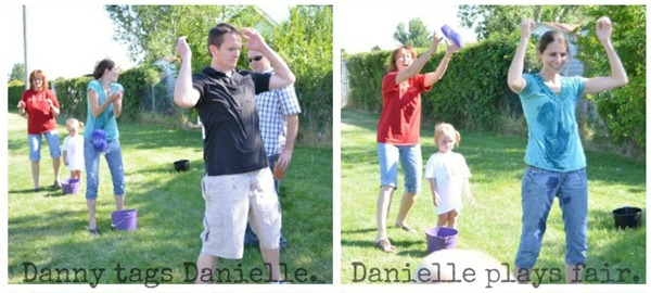 DIY Olympic Games Water Bucket Relay Adults collage