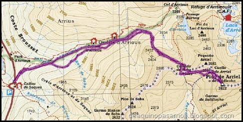 Mapa Arista NO y Descenso Cara Oeste con esquís (Pico de Arriel 2822m, Arremoulit, Pirineos)
