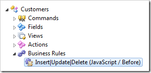 JavaScript Business Rule defined in 'Customers' data controller of the Northwind sample created with Code On Time web application generator for ASP.NET, Windows Azure, DotNetNuke, and SharePoint
