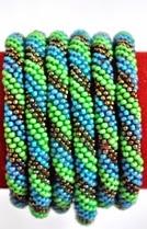 rollover bracelet golden blue green
