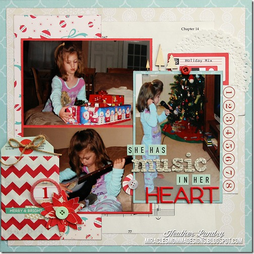 Heather Landry_Musical Christmas_Present Heart_Scrapbook Page