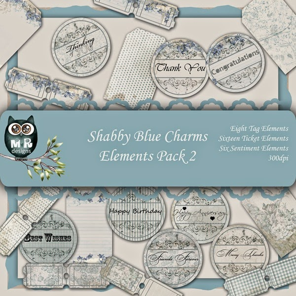 Shabby Blue Charms Elements Front Sheet Pack 2