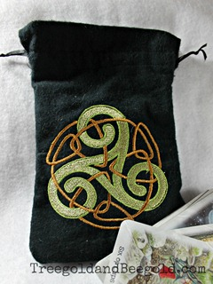Triskele Embroidered Tarot or Rune Bag by Treegold and Beegold