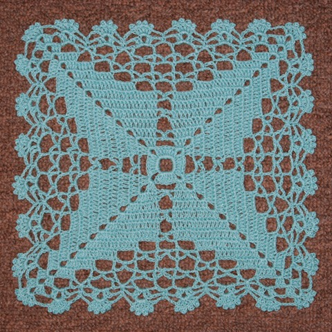 Square Charted Aqua Doily June 2011