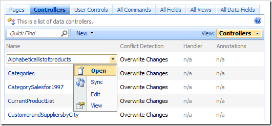 Open context menu option in the list of controllers.