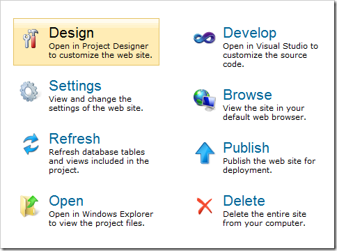Design option on the Project Action page of the web application generator.