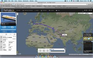 Flight Route to Delhi