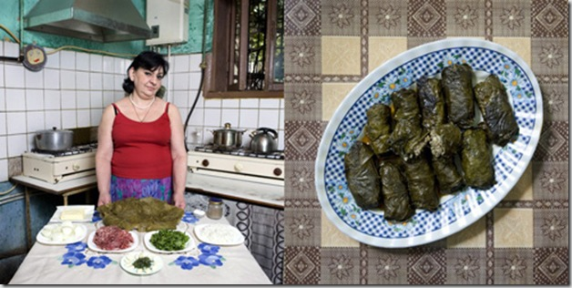 Jenya Shalikashuili, 58 years old, Alaverdi, Armenia. Tolma, roll of beef and rice wrapped into grape leaves