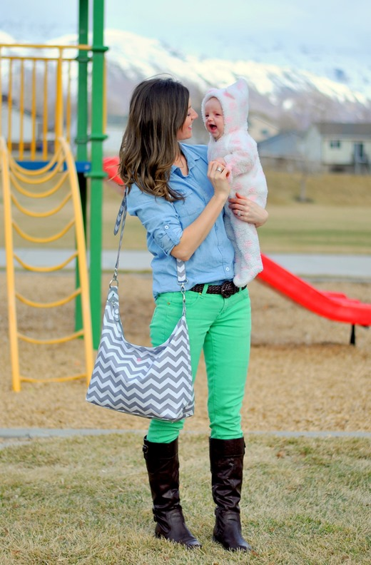 chambray + colored denim + boots + chevron diaper bag {www.maybematilda.com}