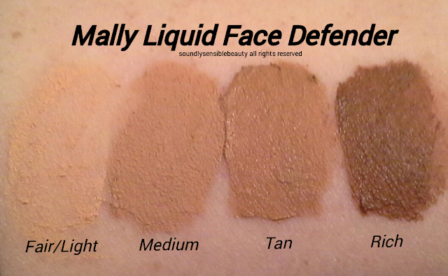 Mally Poreless Liquid Face Defender Shaded Swatches