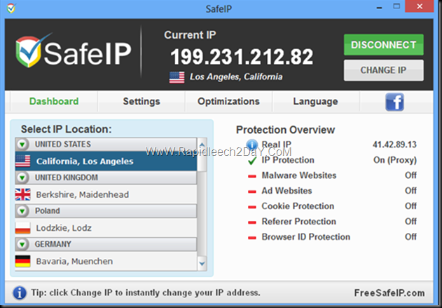 SafeIP 2.0.0.213 - Hide your IP address, unblock websites and protect your identity for free without advertisements