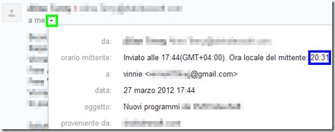 Gmail Ora locale del mittente