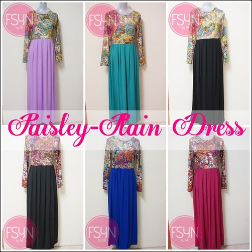 TEASER PAISLEY-PLAIN DRESS