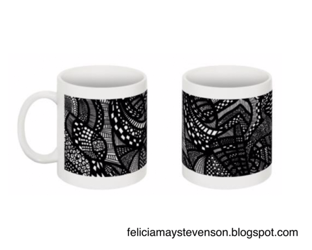 Black and white line drawing mug by felicianation on store envy