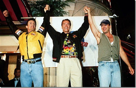 Opening of Planet Hollywood Restaurant, London, Britain - 1993...Manadatory Credit: Photo by RICHARD YOUNG / Rex Features (215132a)<br /> SYLVESTER STALLONE,ARNOLD SCHWARZENEGGER AND BRUCE WILLIS AT THE LAUNCH OF 'PLANET HOLLYWOOD RESTAURANT CHAIN.<br /> Opening of Planet Hollywood Restaurant, London, Britain - 1993<br /> <br />