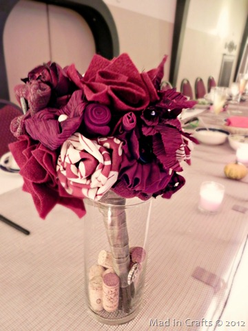 fabric flower bouquet in reds