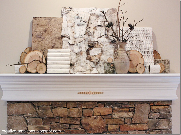 Natural Rustic Winter Mantel Front