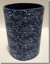 blue cane pencil cup