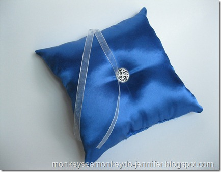 cobalt blue wedding ring bearer pillow and garter (20)