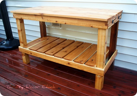 cedar wood potting bench
