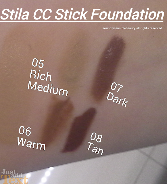 Stila CC (Color Correct) Stick Foundation SPF 20   Review & Swatches of Shades  05 Rich Medium, 06 Warm, 07 Dark, 08 Tan
