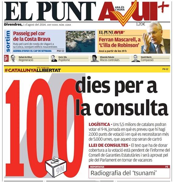 cent jorns abans lo referèndum d'independéncia de Catalonha