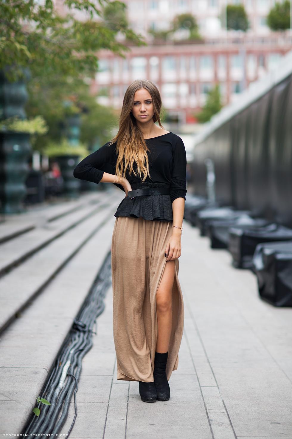 Прическа с длинными юбками