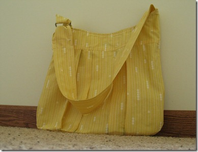 yellow print bag with strap