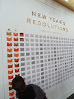 Cheree Berry designed the resolutions wall as a vinyl. Once it was applied with a brayer, the envelopes were adhered and filled with their resolution cards in a random pattern.