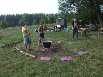 Ian y Clea por la mañana, campamento 1
