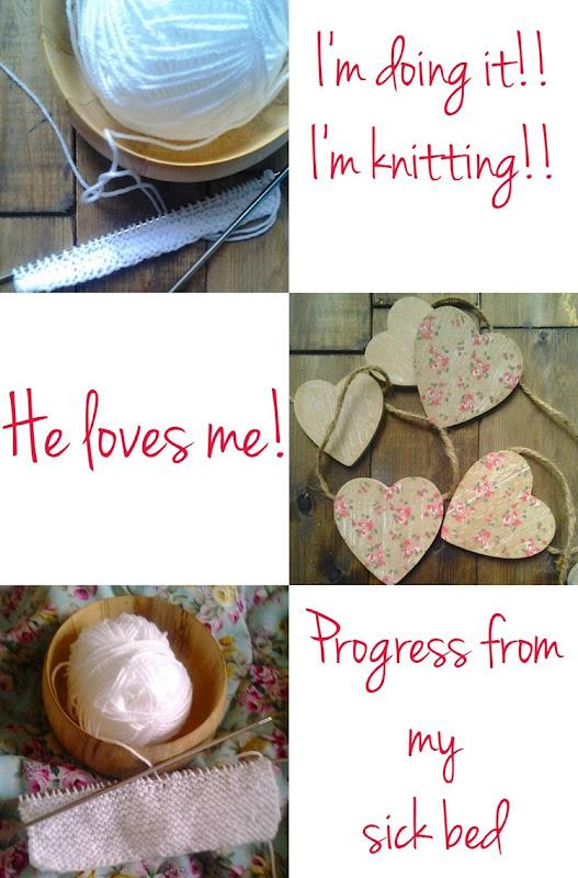 knitting progress and wooden hearts