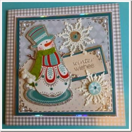 Grey gingham jewelled snowman christmas card