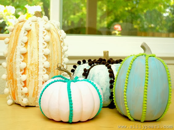 Chalk Paint and Pom Pom Trimmed Pumpkins - The Silly Pearl