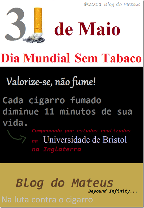 Blog do Mateus no Dia Mundial Sem Tabaco