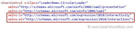 Loader Demo - Adding xmlns Namespaces in the XAML