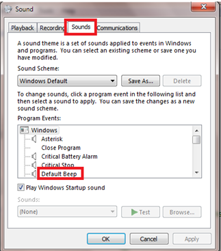 disable beep sound in windows 7