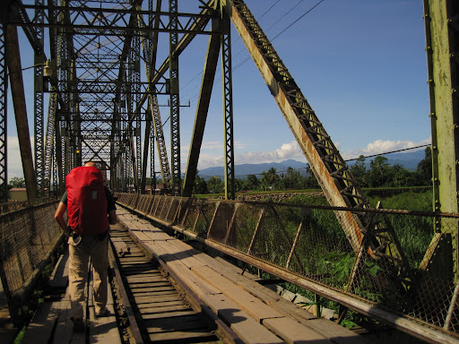 Erik watching his step over the border bridge between Costa Rica and Panama.