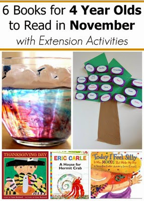 November Book Recommendations for 4 Year Olds with Extension Activities