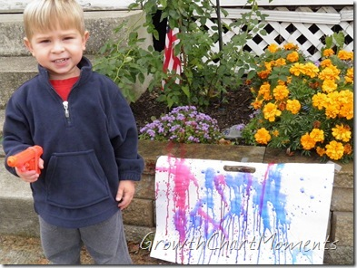Cage and Jack painted with squirt guns today