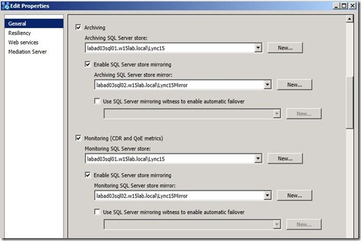 Lync 2013 - SQL Mir - Edit Pool - ArchMon