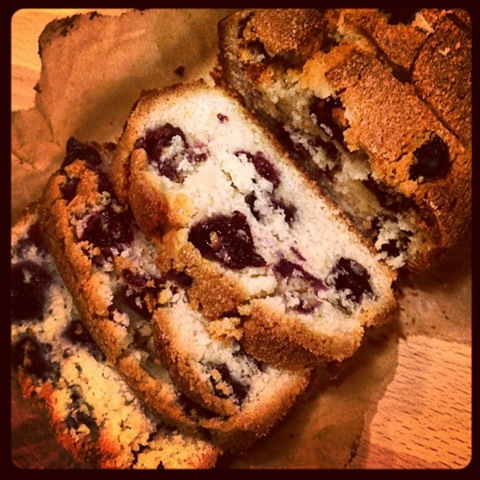 Blueberry loaf cake sliced for serving