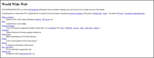 o primeiro web site