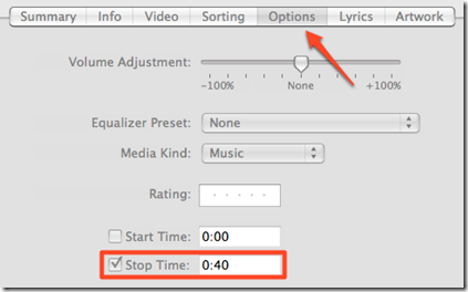 Setting Start And Stop Points In A Song In iTunes