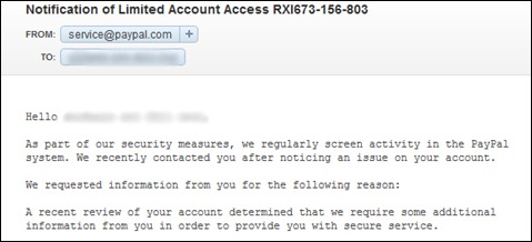 notification of limited account access paypal