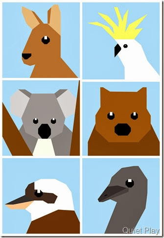Aussie animals Paper Pieced Pattern Sketches by Quiet Play