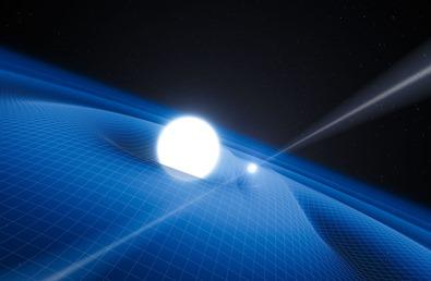 ilustração de um pulsar e uma anã branca